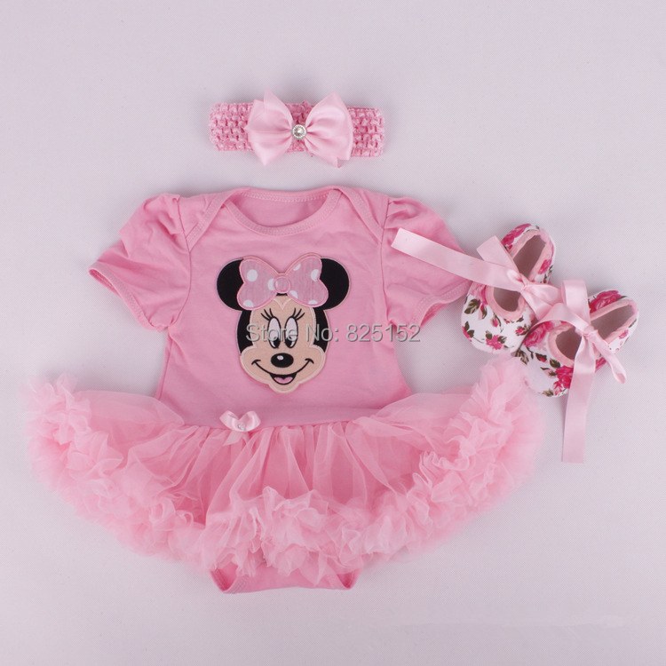 3pcs/Set Minnie Mouse Newborn Baby Christening Gift Photography Props Girls Clothing Set Headband+Bodysuit / Romper+Shoes(China (Mainland))