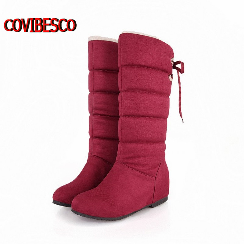 Big size 34-45 Snow Boots Punk colorful Shoes Women Fashion Half Knee High Low Heels Winter Warm Fur - COVIBESCO Ltd's store