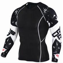 Спортивная Мужская футболка для фитнеса, Спортивная футболка для мужчин, Рашгард, быстросохнущая рубашка для бега, бодибилдинг, тренажерны...(China)