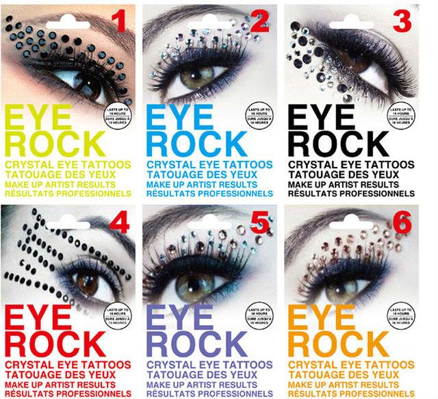 6pcs Eye Rock Eyeshadow Sticker Eyeliner Tattoo Eyerock Crystal Eye Shadow Stickers Rhinestone