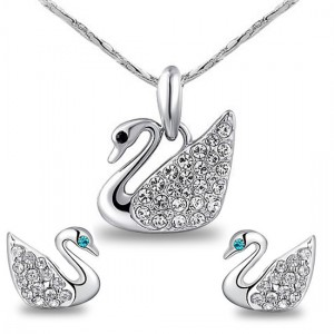 Small fresh fashion all-match little swan stud earring necklace twinset Women drop pendant accessories  -  EEL jewelry store store
