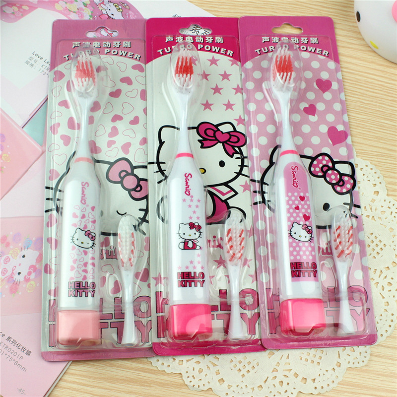 Cartoon Hello Kitty Electric Toothbrush Oral hygiene Battery Sterilizer Baby Child Care Family Tooth Clean Ultrasonic Rotating(China (Mainland))