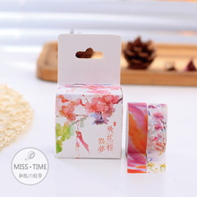 2pcs Gouache Flowers Japanese Washi Tape 15MM * 3M Decorative Scotch Tape Papelaria For Scrapbooking Stickers Diy Washitape(China (Mainland))