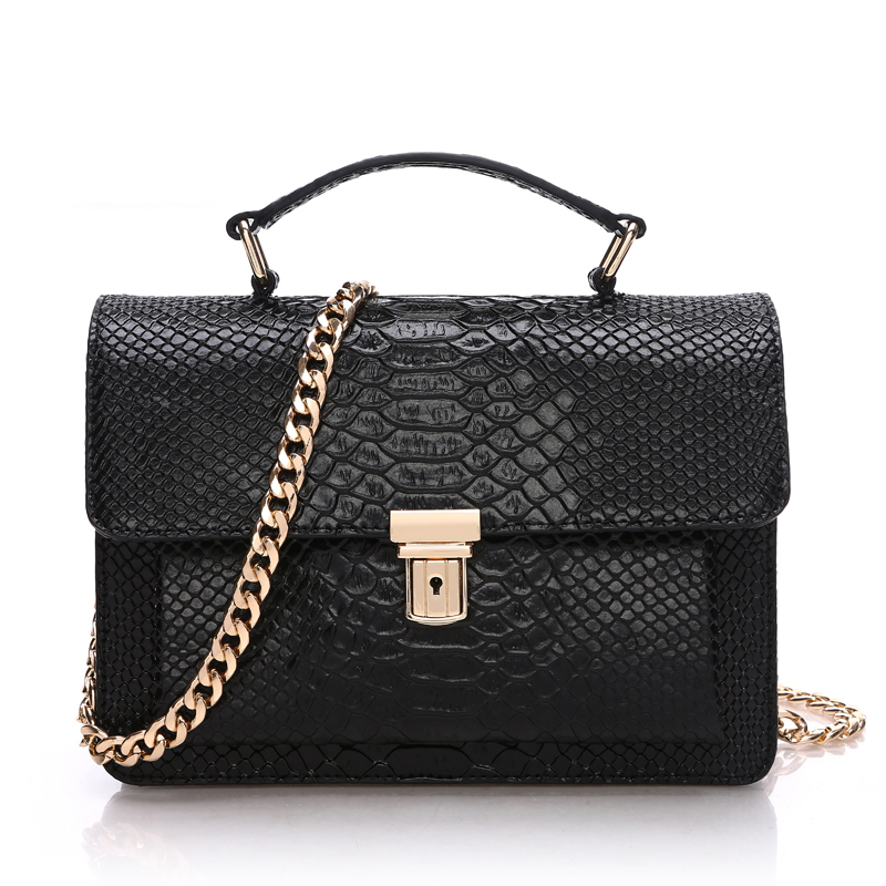 Фотография Genuine Leather Bags For Women 2016 Fashion Brands Tote Bag Women Leather Handbag Shoulder Bag Alligator Chain Messenger Bags