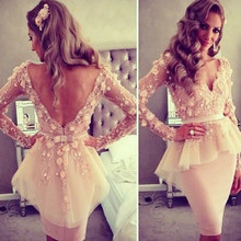 Short Sexy Prom Dresses Special Occasion Lace Tulle V Neck Long Sleeve Sheath Knee Length Robe De Cocktail Dresses For Girls