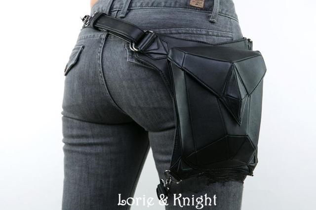 Women/Men Black Leather Steampunk Mini Waistbag