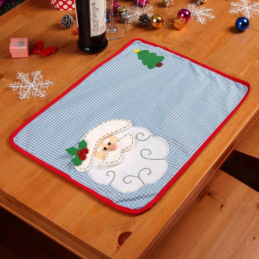 Hot Christmas Santa Placemat Mats Dinner Dining Table Mat Pad font b Tartan b font Design