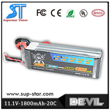 Free shipping factory outlet Devil 11.1v 1800mAh 20c 100% origin lithium battery for rc car helicopter airplane