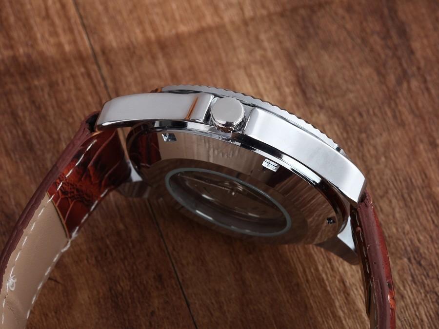 GOER марка Скелет человека автоматические часы Мужчины наручные часы Кожа механическая водонепроницаемый Световой цифровой
