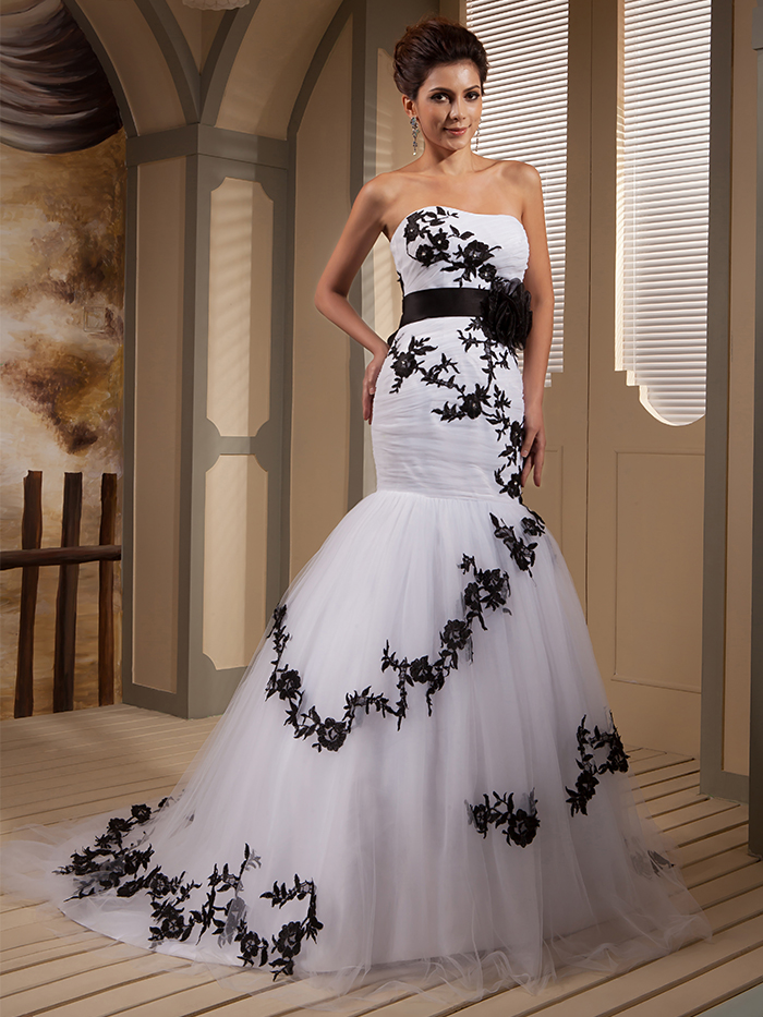 2015 real picture designer black and white mermaid bridal for Black designer wedding dresses