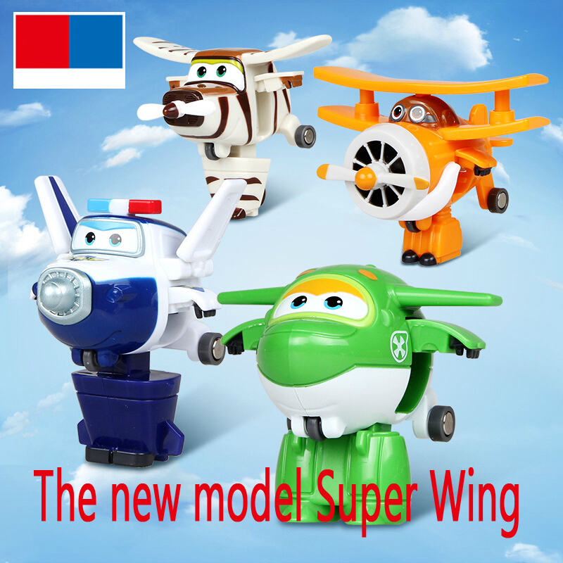 4pcs/set hot Super Wings Mini Planes Deformation Airplane Robot Action Figures Transformation Toys Boys action toy figures(China (Mainland))