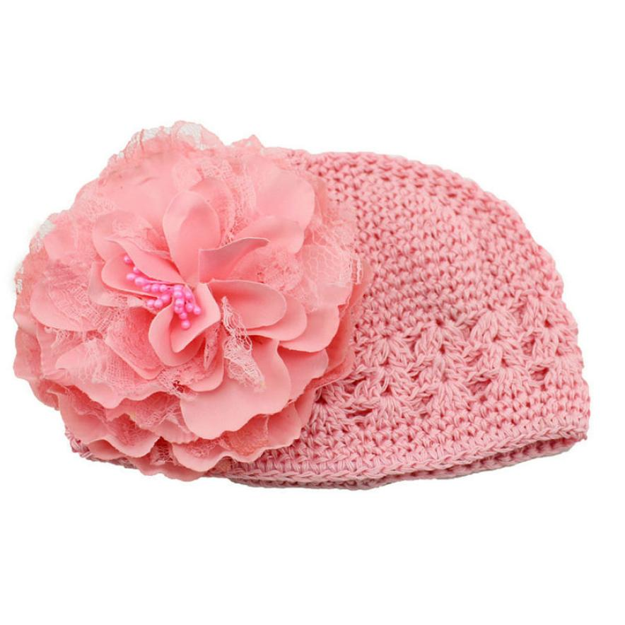 Sweet Flower Crochet Beanie Knitted Cap Hat Newborn Baby Toddlers Girl Warm Handmade Caps Drop Shipping(China (Mainland))