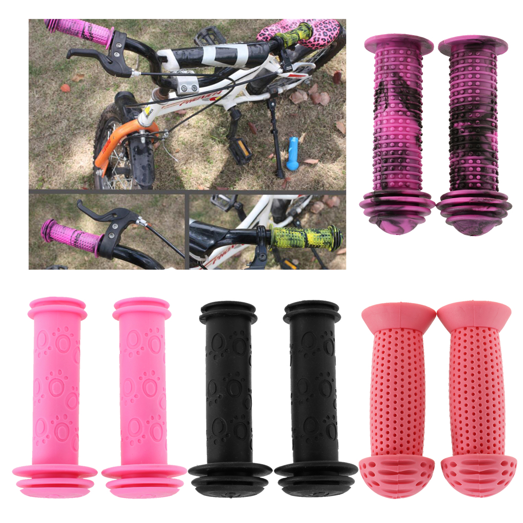 1 Pair Bicycle Handlebar Grips Children Bike Tricycle Scooter Anti Slip Rubber Hand Grips Comfortable & Durable