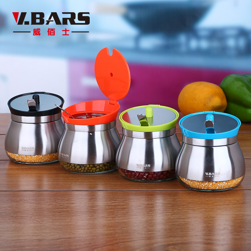 Fashion multicolour stainless steel seasoning box glass spice jar spoonfuls belt saltboxes kitchen supplies(China (Mainland))
