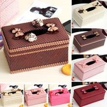 2016 New Flowers cloth fabric Tissue case cute creative tissue pumping tray storage box  home decorations car decoration D5(China (Mainland))