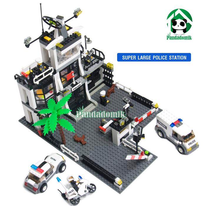 Super Large Police Station Building Kazi Blocks Compatible lego Bricks Car Motorcycle Educational Toys City - Pandadomik store