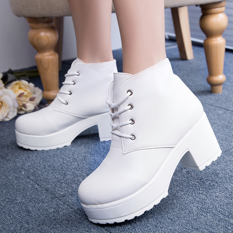Fashion Black&White Punk Rock Lace Square Heels Round Toe Platform Ankle Boots thick heel platform shoes B001 - Top Shoes Home store