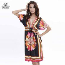 2017 Women Beach Dresses Casual Summer Deep V Backless Sundresses Sexy Women Silk Dress Extra Large Style High Quality Dress(China)