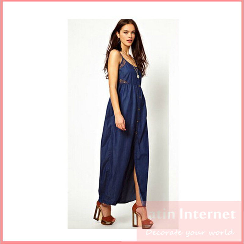 Innovative Slim Women Denim Pencil Dress With A Belt Sleeveless Blue Jean Dress