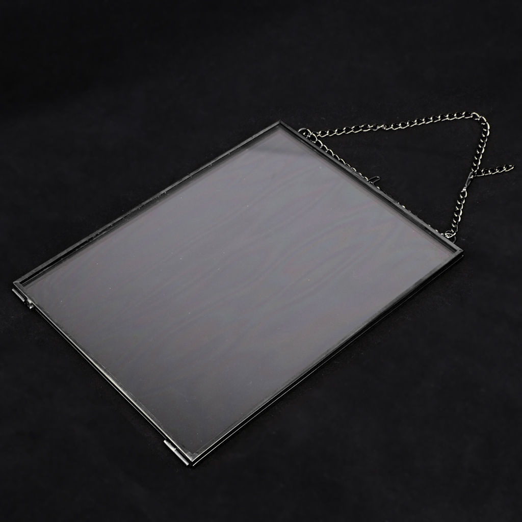 Antique Black Plated Brass Glass Photo Picture Frame Hanging Portrait Decor with Chain Glass and Bronze