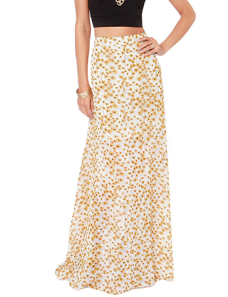 Little daisy full print long skirt maxi high waist floor-length skirts 2015 new fashion women clothing haoduoyi(China (Mainland))