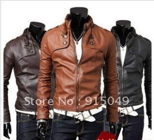 Men's Designed PU Leather Short Slim Fit Top Jacket Coat Outerwear Sexy 3 color