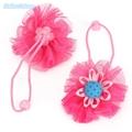 2pcs lot Girls Fashion Elastic Hair Bands Lace Gauze Ribbon Hair Ties Sunflower Floral Ponytail Holders