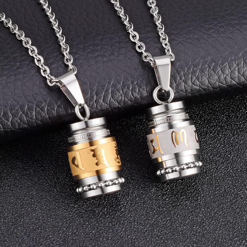 "22/"" souvenir Crémation en verre parfum urne en acier inoxydable collier pendentif unisexe"