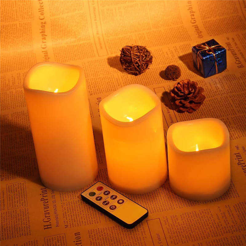romantic 3pcs set wireless remote control candle operated led flameless candles bougie light for. Black Bedroom Furniture Sets. Home Design Ideas