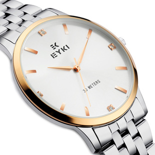 Ikey lovers watches male ultra-thin female form waterproof stainless steel mens watch belt fashion commercial quartz - gifts2you store