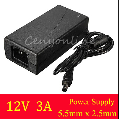Top Quality AC 100-240V Adaptor For DC 12V 3A 36W Power Supply Adapter for 5050 3528 SMD LED Light or LCD Monitor or CCTV(China (Mainland))