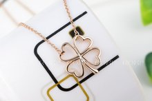 ROXI Brand Gift Fashion Jewelry Rose Gold Plated Hollow Flower Clover Pendant Necklace Women Wedding Free