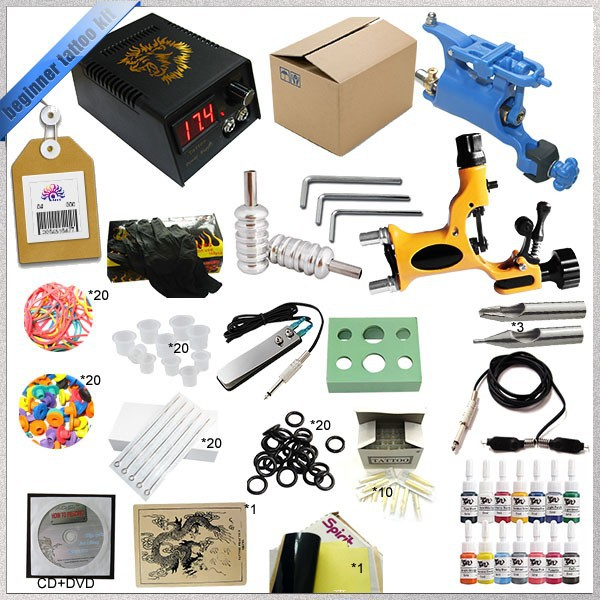 Free shipping 1 Sets New Complete Beginner High quality Rotary Tattoo Machine Kits + ink sets + power supply + needles Hot sell <br><br>Aliexpress