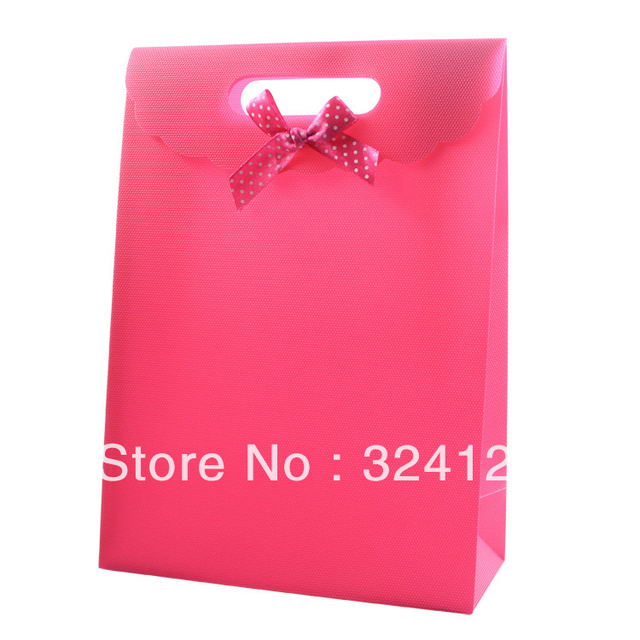 20pcs/lots 25.5*18.5*8cm PP pink gift packaging bag,thickening Valentine's Day gift bag,wedding gift packaging bag Free shipping