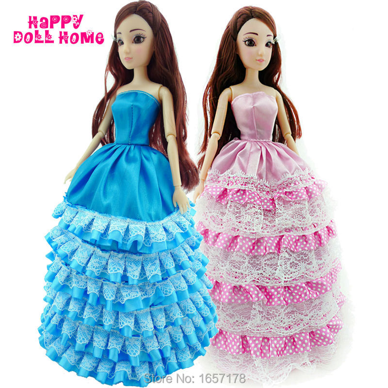 2x Layered Costume Tiered Skirt Marriage ceremony Celebration Robe Princess Garments For Barbie Doll Kurhn FR Lady Toys Present Pink And Blue Colour