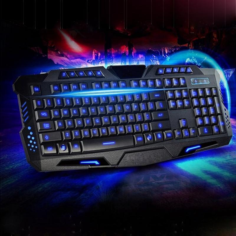 Backlit USB Gaming Keyboard 3Colors Backlight Waterproof 114 Key for LOL Gaming Keyboard+Russian Keyboard Sticker for Laptop PC(China (Mainland))