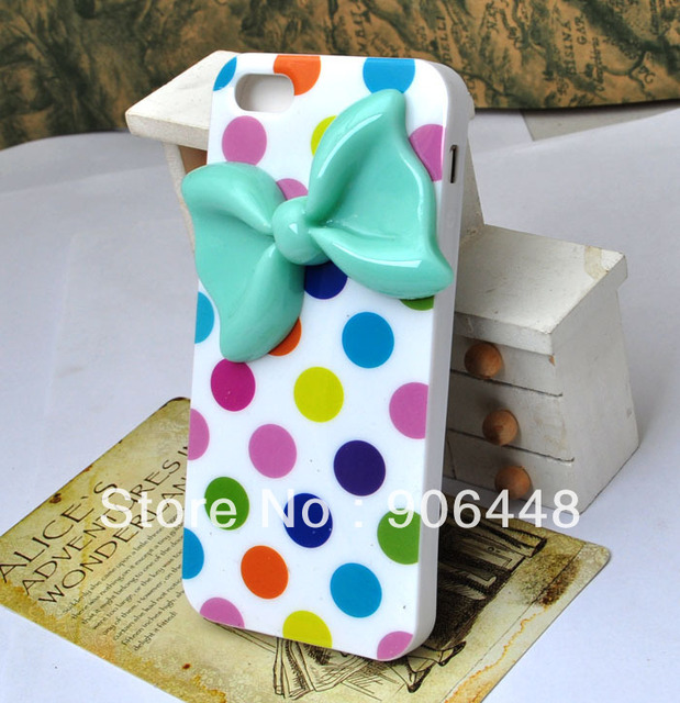 Soft silicone cell phone case for iphone 4 4S 5  5S 4 4S colorful dots and green bow, DIY handmade cover 1PCS