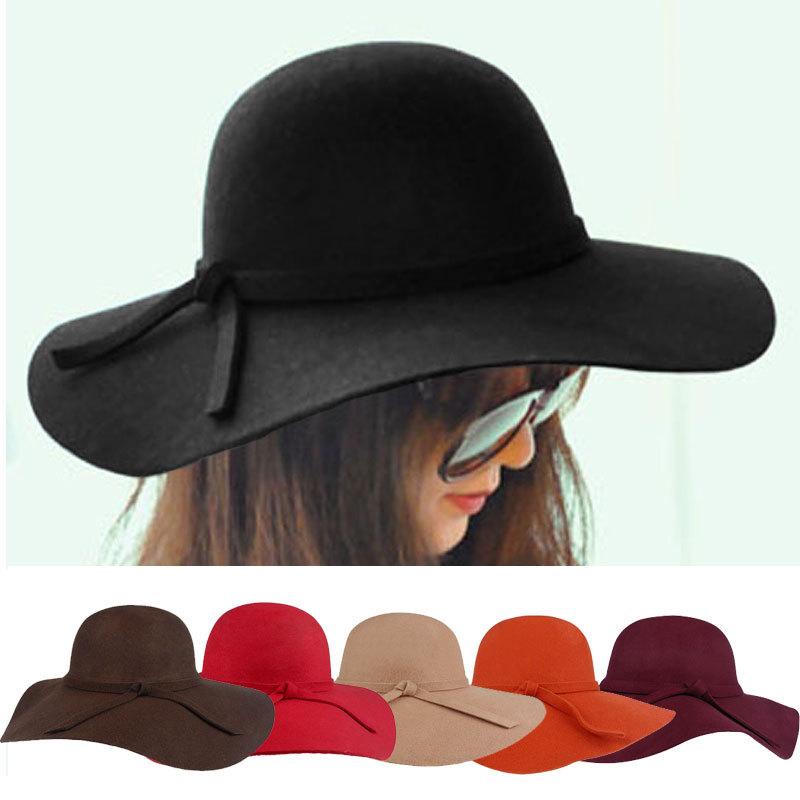 2015 Fashion New Vintage Women Ladies Floppy Wide Brim Wool Felt Fedora Cloche Hat Cap 6 Color Free Shipping(China (Mainland))