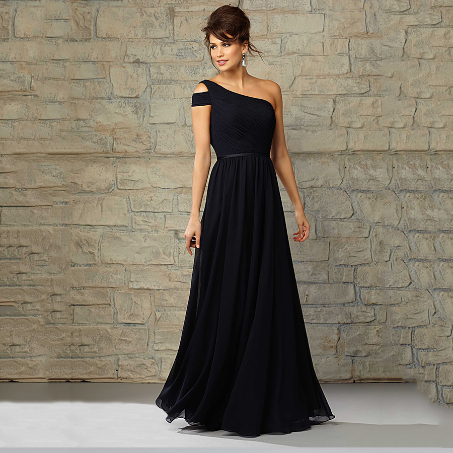 Black Bridesmaid Dresses With Cap Sleeves : Cheap wedding party gowns one shoulder cap sleeves pleated