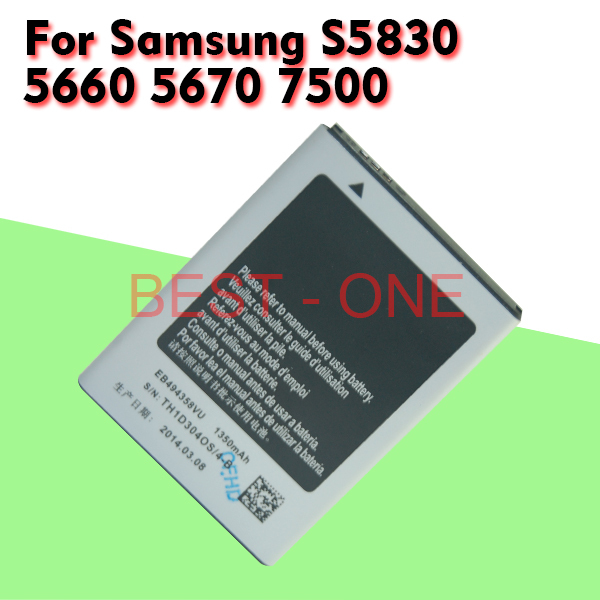 free shipping Battery batery For Samsung Galaxy gt S5830i s5830 S5660 1350mah bateria for 5830 5830i