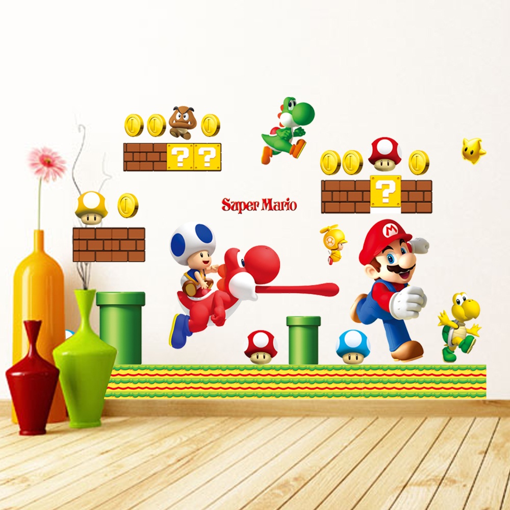Buy 7062 super mario wall stickers home decor home decoration wall sticker for - Mario wall clings ...