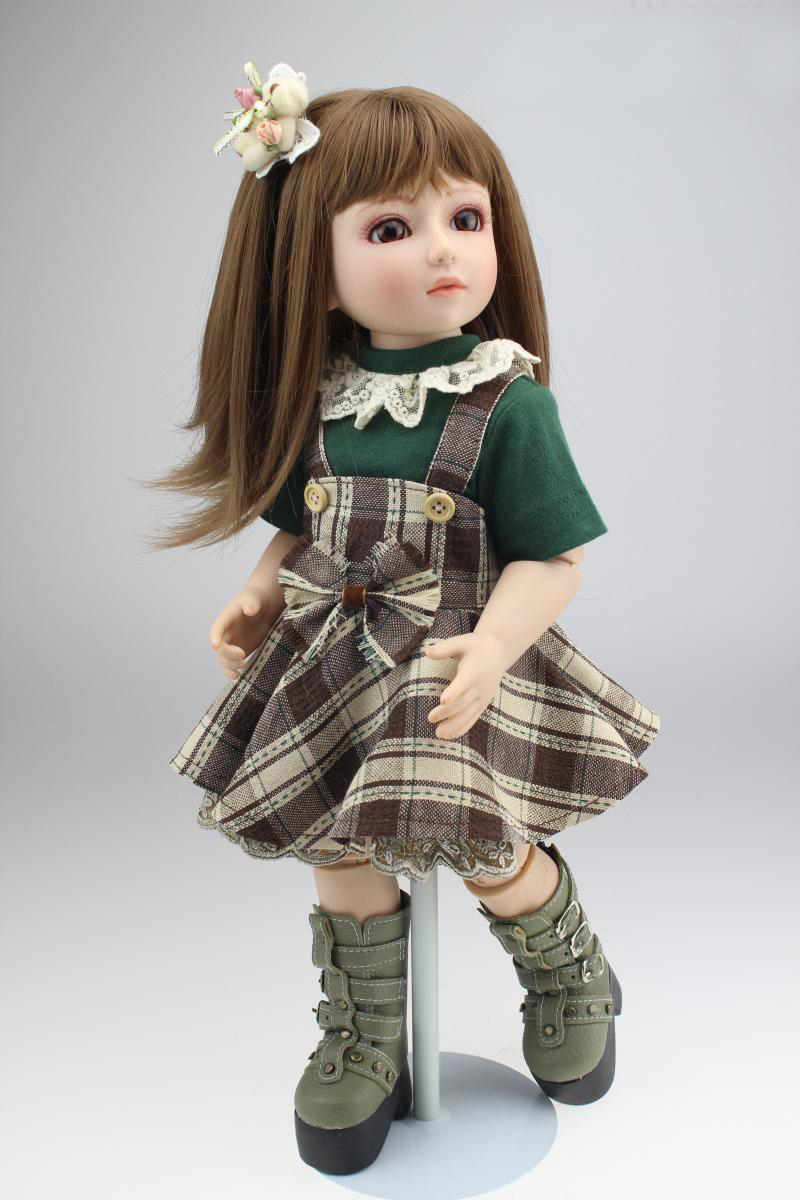 Fashion girl  bjd doll 1/4 Jointed dolls  full vinyl body  with dress  brown hair reborn dolls for girls gift