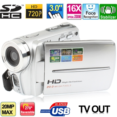 HD5000A Silver,HD 720P 5 Mega Pixels 16X Zoom Digital Video Camera with 3.0 inch TFT LCD Screen,Support TV OUT/USB/SD Interface