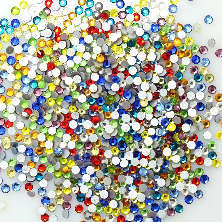 nail rhinestone! Round mix color non hotfix rhinestosne for nail art shine strass Glass Crystal Material many size(China (Mainland))