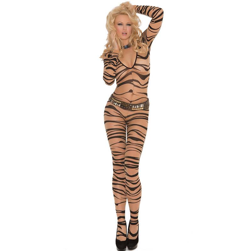 2016 New hot women Sexy Zebra Print Lingerie Body Stockings Sleepwear Exotic Bodysuit One Piece Underwear Babydolls(China (Mainland))