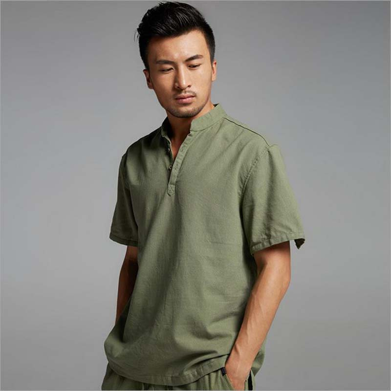 Linen and cotton men casual slim t shirt v neck short for Mens pullover shirts short sleeve