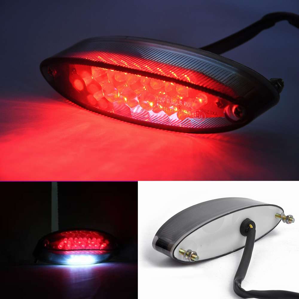 Motorcycle 28 LED Brake Stop Tail Light ATV Dual Sport Smoke License Plate For font b