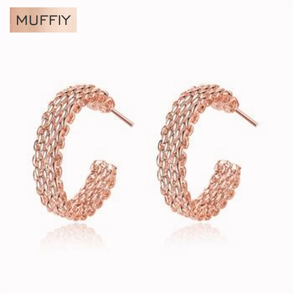 Rose Gold Woven Web Site Round Earrings Jewelry Round Stud Earring Career Rose Gold Plated Women Girls(China (Mainland))