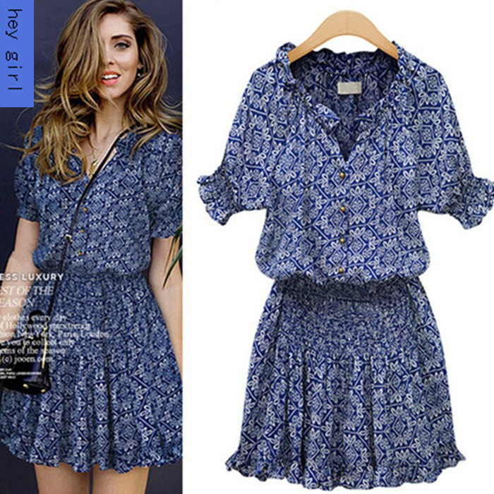 298#2014 New Arrival Summer Blue Cotton dress Europe and America Floral Slim Waist Printing vintage dresses free shipping(China (Mainland))