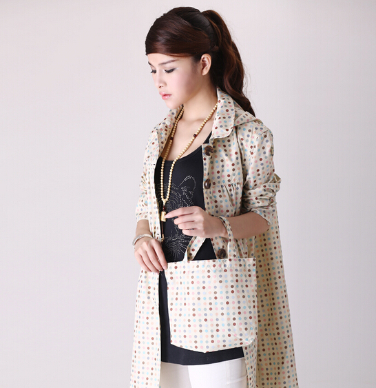 2015 fashion Rainwear Adult Waterproof Raincoat Women Polka Dots Rain Coat Rain Jacket Trench Coat Outdoors capa de chuva Poncho(China (Mainland))